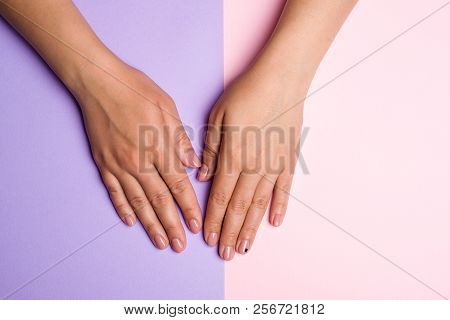 Stylish Trendy Women Manicure. Hand And Nail Care. Female Hands With Perfect Pastel Pink Nails On Co