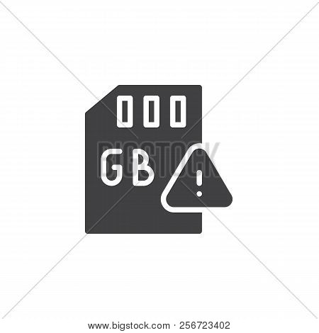 Gb Sd Card And Exclamation Mark Vector Icon. Filled Flat Sign For Mobile Concept And Web Design. Gig