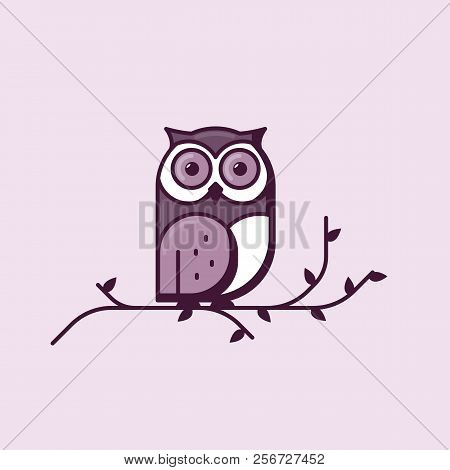 Owl Line Style Vector. Big Owl Sitting On Tree Branch With Leaves. Big Bright Eyes And Dark Shadows