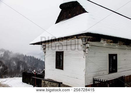 VLKOLINEC, SK - DECEMBER 31, 2017:  Building from A historic village Vlkolinec in Slovakia which is part of the UNESCO World Heritage since 1993.