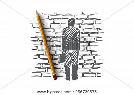 Dead-end, Problem, Impasse, Ponder Concept. Hand Drawn Isolated Vector.
