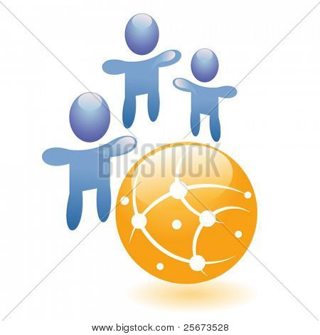 Concept connection vector symbol, abstract people together with hands up, graphic social network icon or friend group internet community.