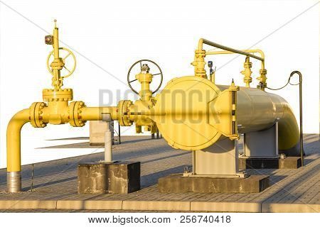 Gas Valve, Gas Pipeline Installation, Isolated, On A White Background