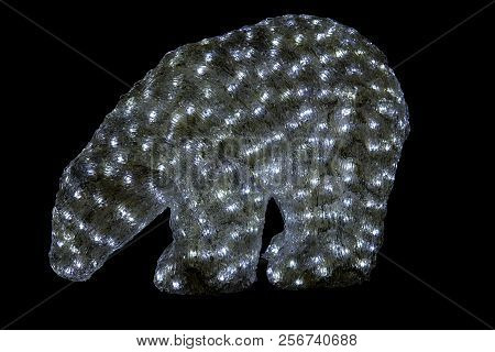 Umea, Sweden On December 17 A Closeup View Of A Polar Bear, Lit Up By Led-lamps On December 17, 2017