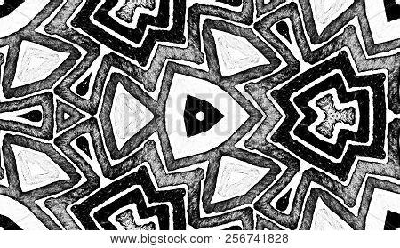 Dark Black And White Geometric Watercolor. Dazzling Seamless Pattern. Hand Drawn Stripes. Brush Text