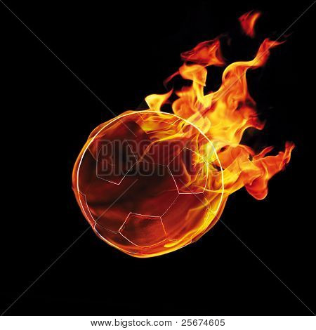 Soccer ball on fire on the black background