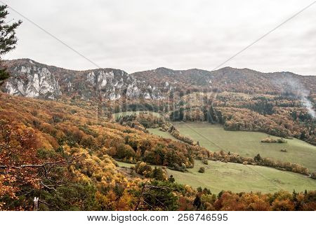 View From Stefanikova Vyhliadka View Point In Autumn Sulovske Skaly Mountains In Slovakia With Partl