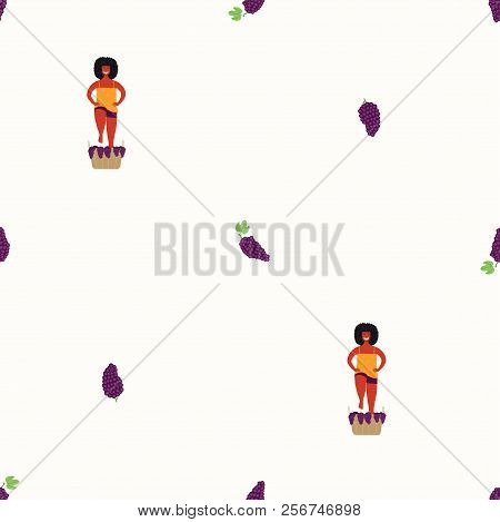 Seamless Repeat Pattern With Cute Beautiful Woman Stomping Grapes. Hand Drawn Vector Illustration. F