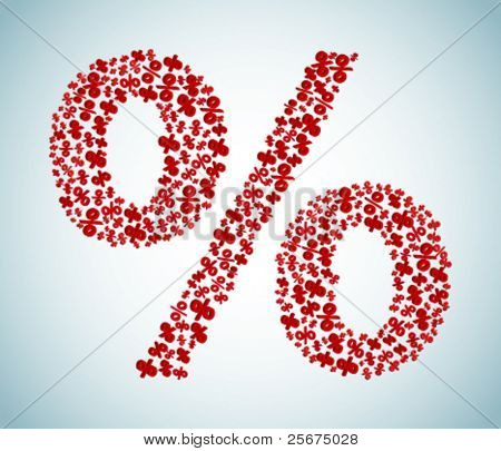 Red sign of percent