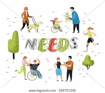 Flat People Characters Set With Special Needs. Disabled Cartoons, Man And Kid In Wheelchair. Disabil