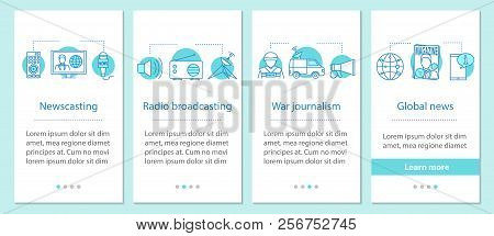 News Onboarding Mobile App Page Screen With Linear Concepts. Newscasting, Radio Broadcasting, War Jo