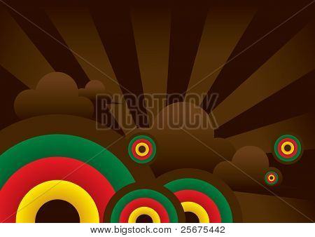 vector of simple sun and cloud background