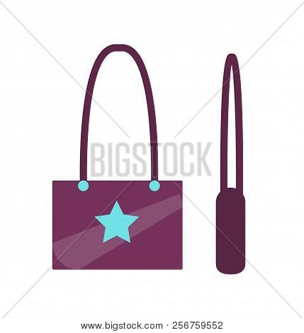 Handbag Star Sign Boysenberry Bag Blue Stars In Centerpiece, Accessory With Print And Handle Stylish