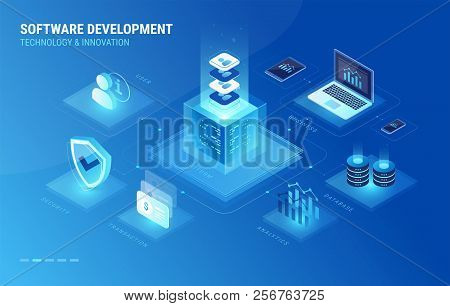 Software Development Process Isometric Infographics Icons. Software Development Digital Platform Con