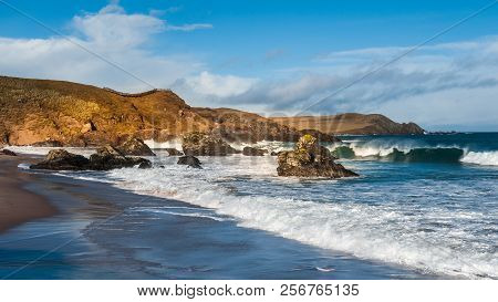 Sango Bay At Durness On The North Coast Of Scotland A Popular Beach With Tourists Driving On The Nor