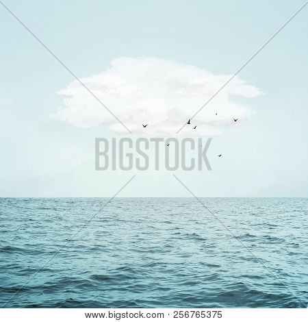 Sea Waves And Beauty Sky With Cloud And Flying Birds