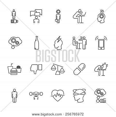 Stress Causes Icons Collection Set. Outline Vector Illustration Why People Are Stressed. Reason Of F