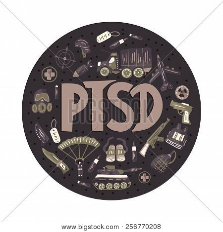 Ptsd. Post Traumatic Stress Disorder Round Vector Illustration With Military Signs - Parachute, Tank