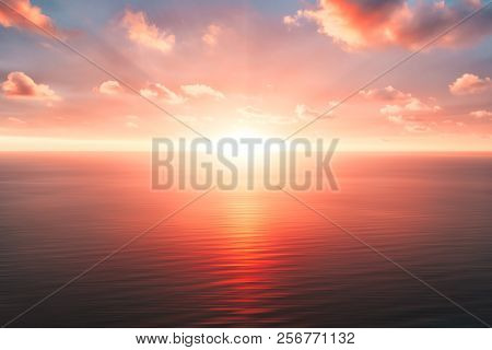 Bright Orange Sky And Light Of The Sun. Sky Background On Sunset. Nature Composition. Panoramic Suns