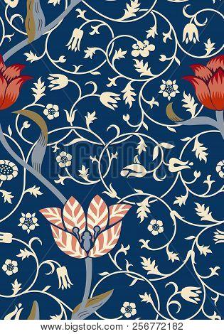 Vintage Floral Seamless Pattern On Dark Background. Middle Ages Style. Vector Illustration.
