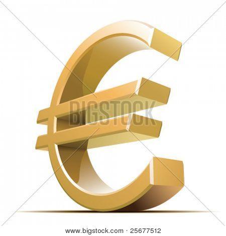 Metallico euro Vector segno isolato su sfondo bianco