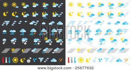 Piktogramme, die Wetterbedingungen darstellen