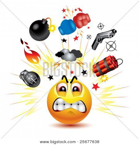 Smiley ball with symbols of  fight and anger
