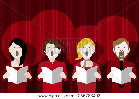 Choir Singers Singing In Front Of A Red Curtain