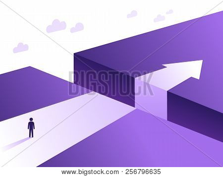 Business Challenge And Solution Vector Concept With Person Standing Over Big Gap. Symbol Of Overcomi