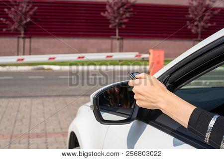 Malfunctions With The Automatic System Of Barrier, The Female Hand With The Panel Opens Gate From Th