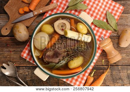 beef stew with vegetable and broth, pot au feu