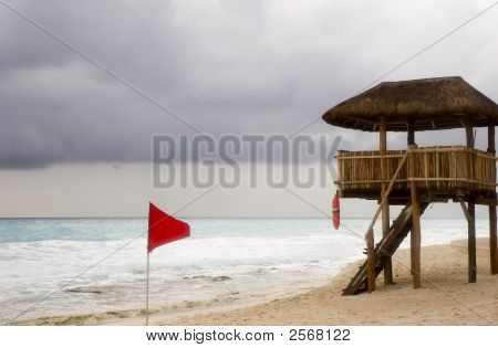 Red Flag And Lifeguard Station