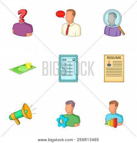 Employment Agency Icons Set. Cartoon Illustration Of 9 Employment Agency Icons For Web