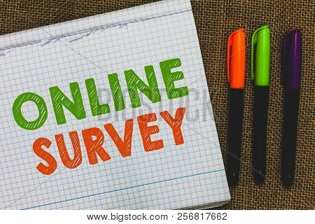 Conceptual Hand Writing Showing Online Survey. Business Photo Text Reappraisal Feedback Poll Satisfa