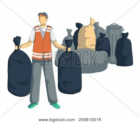 Garbage Man With Bags, Cans, Bins, Containers Of Trash. Isolated Objects On White Background. Garbag