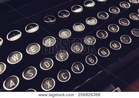 Close Up Of Vintage Typewriter Machine Keys On Writers Desk, Conceptual Image For Blogging, Publishi