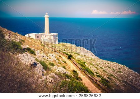 Retro Lighthouse Trail In Otranto - Salento - Italy - Apulia Region .