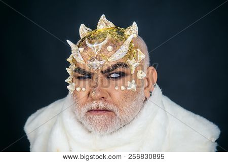Blind Man Clairvoyant. Clairvoyant With Horns On Head. Magic And Mystery On Halloween Holiday. The W