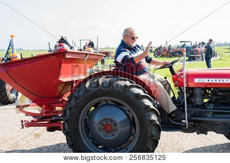 Katwoude, Netherlands - 2018-09-02: Second Oltimer Tractor Tour, Katwoude - Waterland. Participants