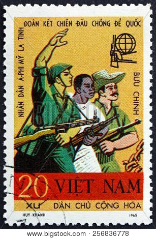 Vietnam - Circa 1968: A Stamp Printed In Vietnam Shows Asian, African And Latin American Soldiers, F