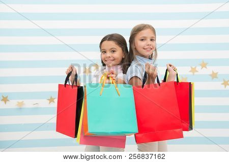 Dream Of Every Girl Shopping Together With Best Friend. Girls Children Best Friends Hold Bunch Of Sh