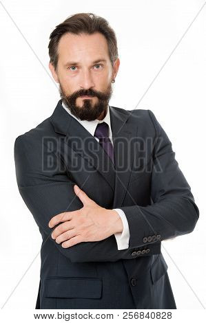 Confident In His Perfection. Businessman Manager Classic Formal Clothing Hold Hands Crossed. Busines