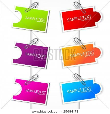 Colorful paper card with clip