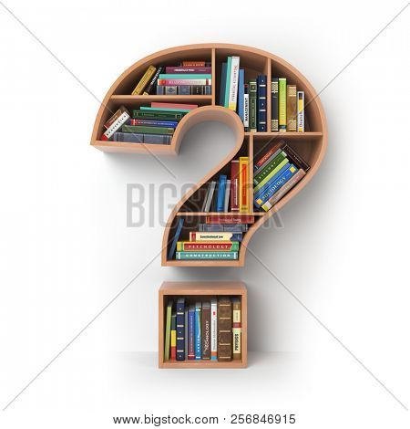 Question mark as bookshelf with books. Search and education concept. 3d illustration