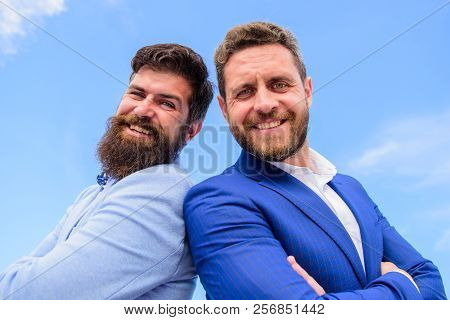 Men Businessman Formal Suits Stand Back To Back Blue Sky Background. Business And Corporate Law. Cor