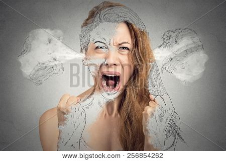 Closeup Portrait Angry Young Woman Blowing Steam Coming Out Of Ears Having Nervous Breakdown Hysteri