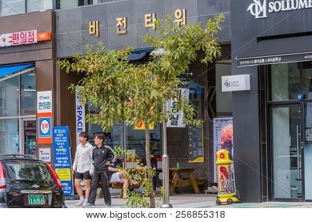 September 2, 2018; Daejeon, South Korea: Four Young Unidentified Korean Men In Front Of Convenience