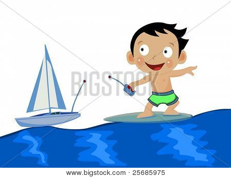 baby surfing and playing with ship toy