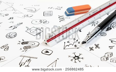 Stem Education Background Concept. Stem - Science, Technology, Engineering And Mathematics Backgroun