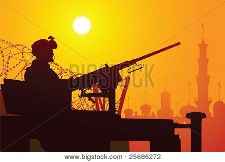 Soldat mit einem Maschinengewehr